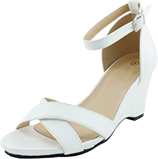 Cambridge Select Women's Open Toe Crisscross Ankle Strap Platform Wedge Sandal