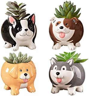 Animal Succulent Plant Pots, Buymax Mini Doggy Shape Succulent Planter Handmade Ceramic Plant Pot - Cute Dog Planter for P...