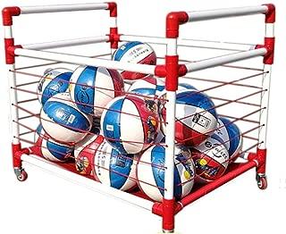 Goodvk Bastidor de Baloncesto Resistente Rack de Almacenamiento de Baloncesto jardín de Infantes colocado en Rack Bola móvil del Carro de fútbol Caja Bola de la Cesta Bola de los niños de la Bola