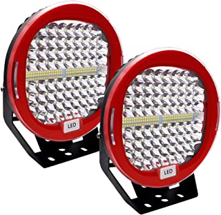 LED Pods Light Bar 9 inch SAFEGO Red Round 2Pcs 408W 40800Lm Waterproof Spot Beam Cree LED Bar Work Light Offroad Driving Headlamp Fog Light with Roof Bar Bumper for Jeep Wrangler SUV ATV Tractor Boat