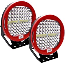 LED Pods Light Bar Safego 9inch Red Round 2Pcs 408W 40800Lm Waterproof Spot Beam Cree Led Work Light Off Road Lights Driving Light for Truck Jeep Wrangler Suv Atv Tractor Boat