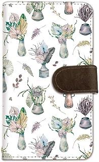 seventwo Android One X2 スマホケース 手帳型 携帯ケース ミラー付 アンドロイド ワン エックスツー 【A.グリーン】 フラワー 花瓶 flower_143
