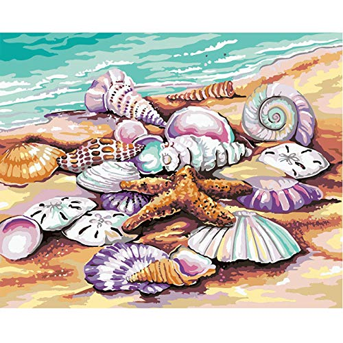 Diamond Paintings DIY 5D Set, Full Drill Embroidery Paintings Rhinestone Pasted DIY Painting Cross Stitch Arts Crafts for Home Wall Decor, Adults and Kids - Showy Shell,16 x 16 inch
