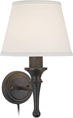 Braidy Farmhouse Cottage Wall Lamp Bronze Plug-in Light Fixture Ivory Cotton Empire Shade for Bedroom Bedside Living Room Rea