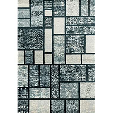 Persian-Rugs 1007 Blue 8 x 10 Modern Abstract Area Rug Carpet