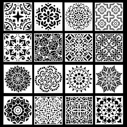 Gaosheng 1 juego de 16 patrones de pintura, plantilla de mandala, reutilizable, para decoración de bricolaje, pintura de madera, aerógrafo, rocas y paredes