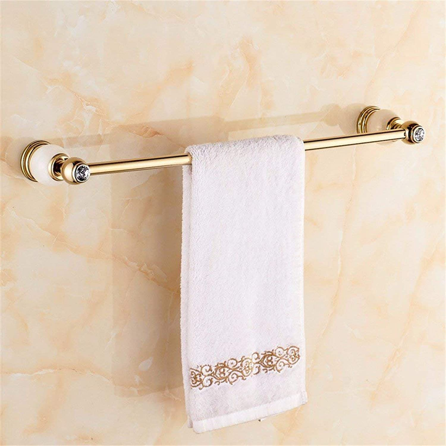 White gold of European Christmas Copper Accessories Jade Diamond of Bathroom Basic Set of WC Brush Paper Holder,Single Rod