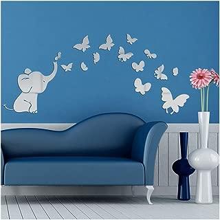 Alrens(TM) Cute Elephant Butterflies Acrylic Mirror Surface DIY 3D Wall Sticker Baby's Room Nursery Decor Creative Mural Decal Art Home Decoration Gift for Kids