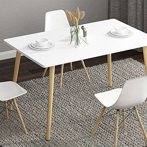 KaminHome - Conjunto de Mesa + 4 sillas Comedor Ashley salón Cocina Pata Madera Rectangular diseño nórdico escandinavo Color Blanco Silla Blanca (60 cm x 90 cm x 72 cm (Mesa + 4 Sillas))