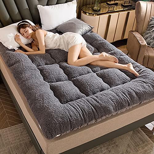 Colchón futón japonés colchón de Lana Gruesa Almohadilla para Dormir portátil para niños, colchón Plegable Duradero y Transpirable, aplicable para dormitorios de Estudiantes,Grey,200 * 220cm