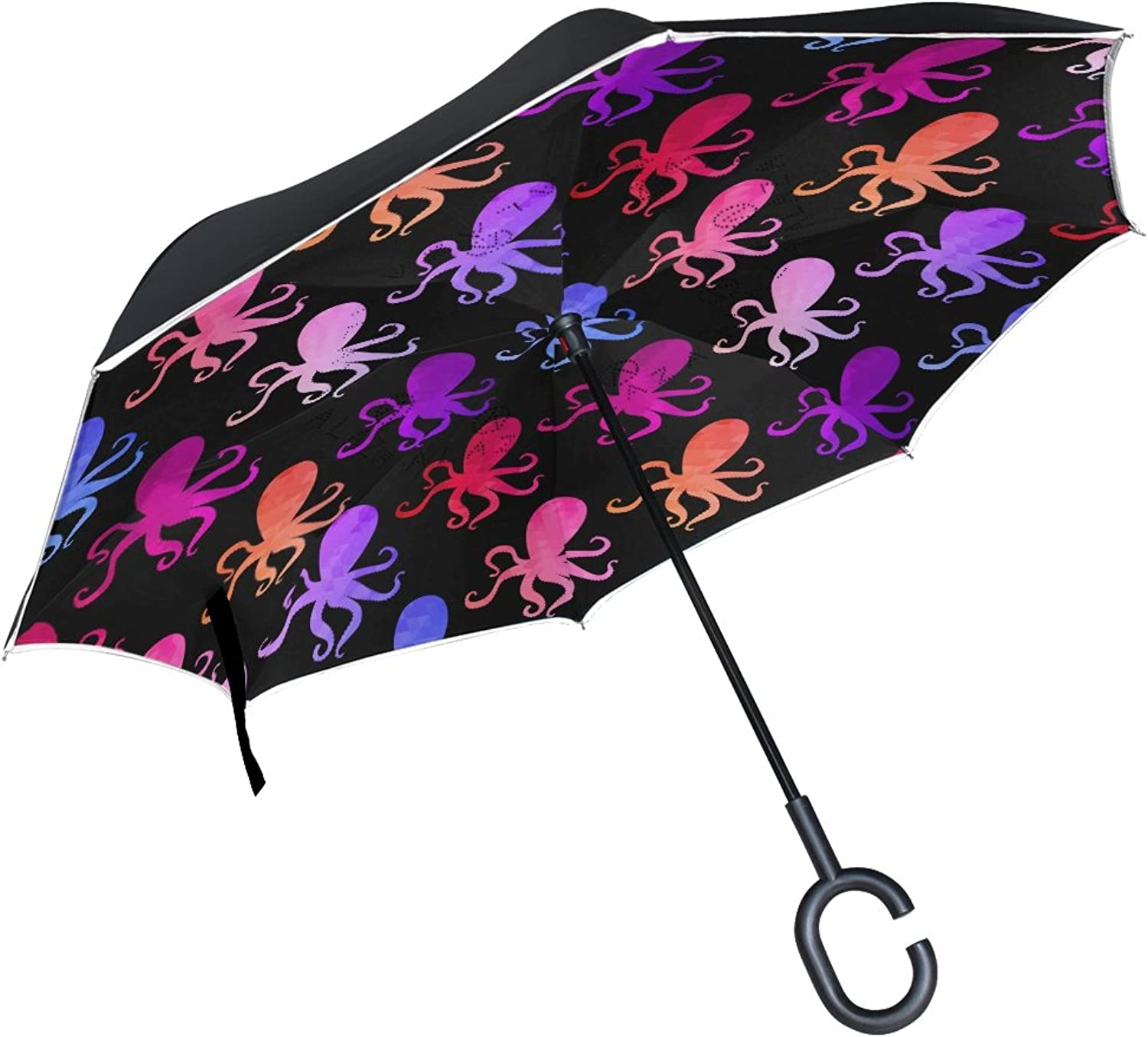 LAVOVO Octopus And Fishes Ingreened Double Layer Windproof Straight Umbrellas InsideOut Folding Umbrella with CShaped Handle for Car Use