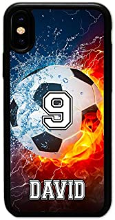 iPhone XS Max Case, iPhone 10S Max Case, ArtsyCase Thunder Water Fire Soccer Ball Personalized Name Number Phone Case for iPhone XS Max and iPhone 10S Max (Black)