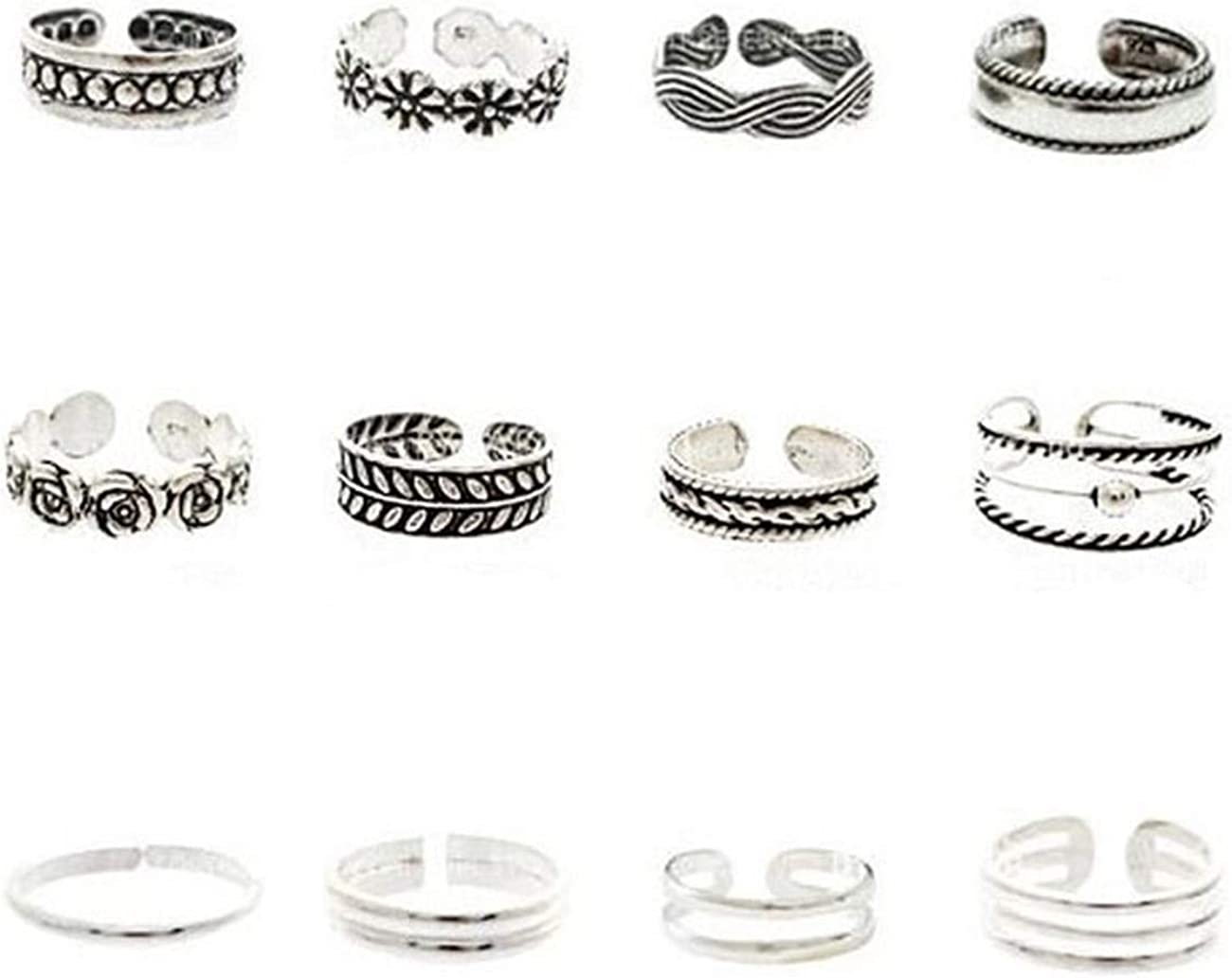 ZALING 12 Pieces/Set Knuckle Ring Open Toe Rings Various Types Knuckle Ring Set