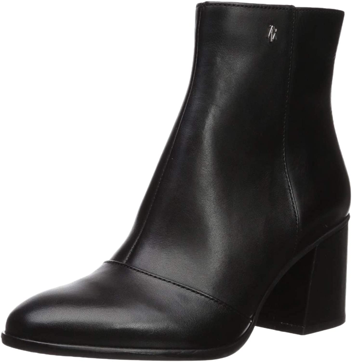 A X Armani Exchange Womens Smooth Leather Boot with Block Heel Fashion Boot