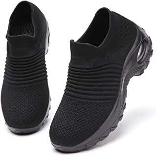 Ezkrwxn Walking Shoes for Women mesh Breathable Comfort Sock Fashion Sport Athletic Running Shoes Ladies Runner Jogging Sneakers Casual Tennis Trainers All Black Size 8.5