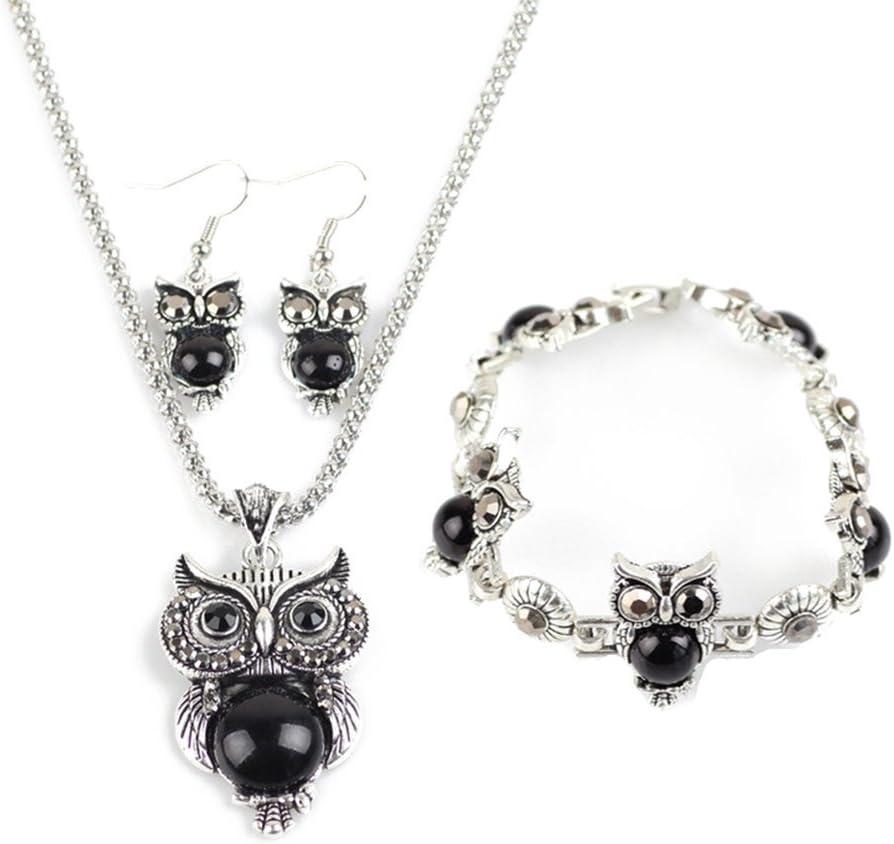 Hosaire 1 Set Von Halskette Ohrringe Armband Retro Elegantes Eule Kristall Gem Anhänger Damen Necklace Earring Bracelet Set Schwarz Spielzeug