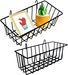 2 Pack Wall Grid Panel Hanging Wire Basket,Wall Grid Basket with Hook,Wall Storage and Display Basket,Wire Wall Baskets Shelves for Kitchen Bathroom Organizer,Home Decor,Black