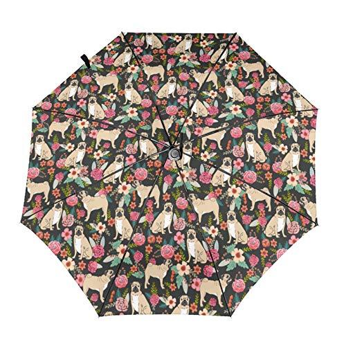 Paragüero con diseño de flores de carlino para mascotas, perros y perros, con flores automáticas, triple pliegue, impermeable, resistente al viento, duradero