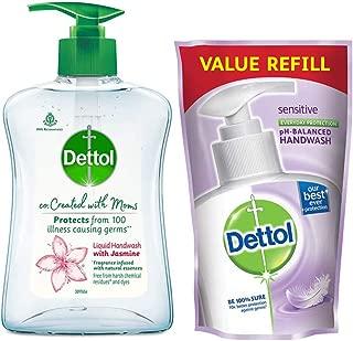 Dettol Co-created with moms Jasmine handwash Pump,200ml with Dettol Sensitive Handwash Refil,175Ml