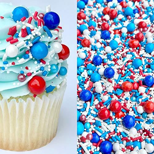 Sprinkles | 8 oz | Patriotic Sprinkles | Cake Sprinkles | USA Sprinkles | Sprinkle Medley | Candy Sprinkle | Manvscakes