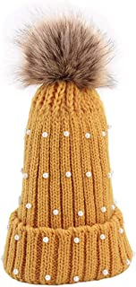 ZEFOTIM Women Winter Crochet Hat Faux Fur Wool Knit Warm Cap