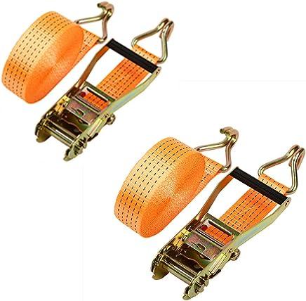MYHO ラッシングベルト タイダウン ラチェット ストッキング セット サイズ:10M * 6CM ストラップ ラチェット式荷締めベルト 荷締機 ラチェット 工具 荷物袋 ファスナー トラック カーゴ ラッシング 荷重 4000KG