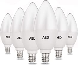 AED Candelabra LED Light Bulbs, E12 Base, 40-50W Equivalent, 4000K Cool White, 400 Lumens, Non-dimmable, LED Decorative Candle Light Bulbs for Chandelier and Ceiling Fan, 6Packs