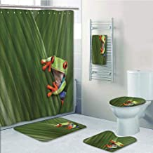 Bathroom Fashion 5 Piece Set shower curtain 3d print,Animal Decor,Red Eyed Tree Frog Hiding in Exotic Macro Leaf in Costa Rica Rainforest Tropical Nature Photo,Green,Bath Mat,Bathroom Carpet Rug,Non-S