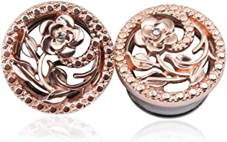Paire or rose oreille Tunnel Plugs chair Jauges Expander conique Boucles d/'oreilles