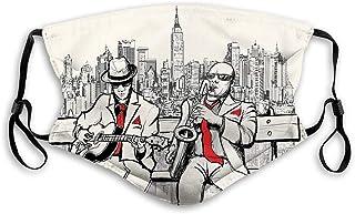 Jazz Men Band Playing Beats in New York at Night Retro Style Illustration Print Bandana Stampata Unisex Lavabili Decorazio...
