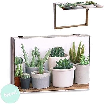 Dream Hogar Tapa Contador de luz Cubre Cuadros electricos Cactus Madera 46x31x6 cm