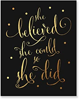She Believed She Could So She Did Gold Foil Black Art Print Inspirational Modern Wall Art Black Poster Decor 5 inches x 7 inches B5