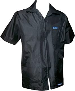 CHEFSKIN Custom Embroidery Barber Cosmetologist Dentist Doctor Jacket in Light Poplin Fabric Jet Black Customisable
