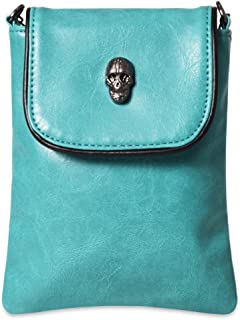 LassZone Women Small Leather Crossbody Bag Cellphone Purse Wallet Handle Wallet Phone Pouch Coin Skull PU
