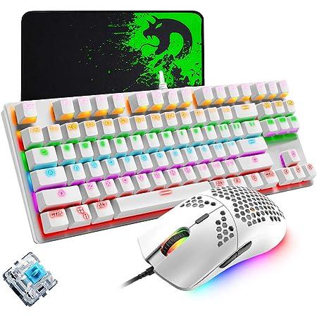 Teclado mecánico para juegos, mouse de juego ultraligero programable 6400DPI, juego de almohadillas para ratones, teclado blanco con cable 87 teclas, ...