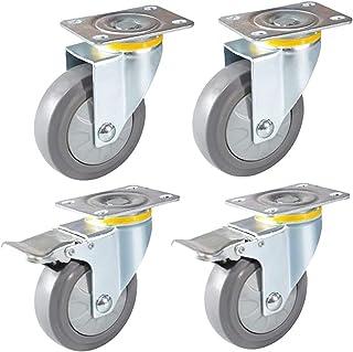 XINKONG 4 stks Meubelwielen Heavy Duty Casters Silent Rubber Industriële Plaat Wielen Met Stofring 360 ° Draaibare Trolley...