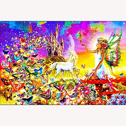 nanxiaotian Diamantmalerei 5D DIY Volldiamant runde Diamant Schönheit Schmetterling Pferd 45x40cm Strass Kristall Bild Stickerei Kit Kunst Handwerk Kreuzstich