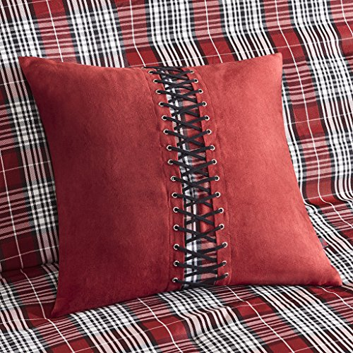 Woolrich Williamsport Square Pillow, 18u0022x18u0022, Red