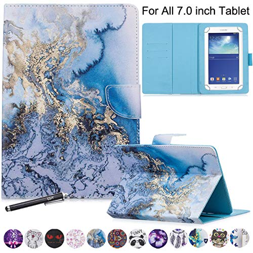 Universal Case for 6.5-7.5'' Tablet, GSFY Colorful Wallet Stand Cover for 7.0'' Samsung Galaxy Tablet, Amazon Kindle Fire 7/HDX 7 and Other Around 7 Inch Models - Blue Marble