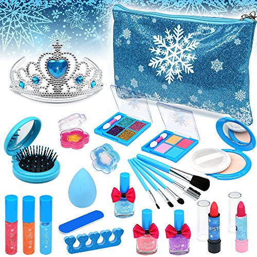 Kids Washable Makeup Toys Girls - Frozen Real Cosmetic Toy Little Girl , Toddler & Non-Toxic Make Up Set , Children Vanities Dress Up,Child Princess Play pretend Birthday Gift,Age 3 4 5 6 7 8 Year Old