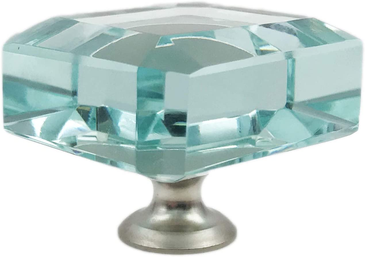 Square Turquoise Glass Kitchen Cabinet Purchase Max 86% OFF Knobs with Pulls Dresser