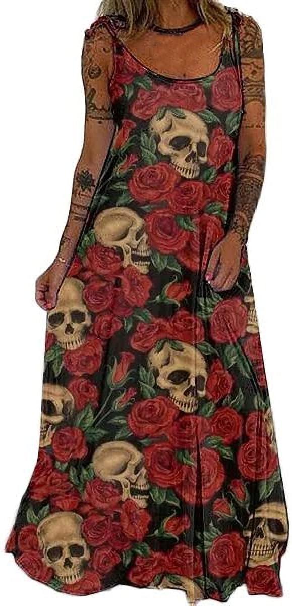CZVEVOY Women's Casual Sleeveless Maxi Dress Skull Printed Loose Dress Halloween Party Sling Long Dress,Red,XL