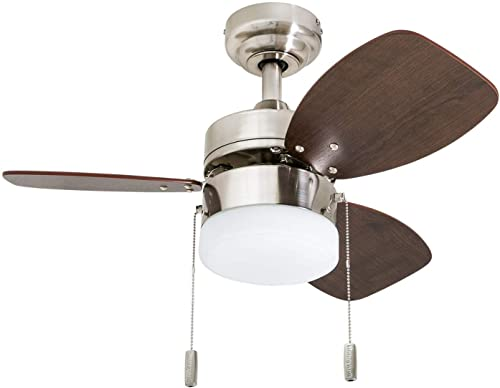 """Honeywell Ceiling Fans 50601-01 Ocean Breeze Contemporary, 30"""" LED Frosted, Light Oak/Satin Finish Blades, Brushed Ni..."""