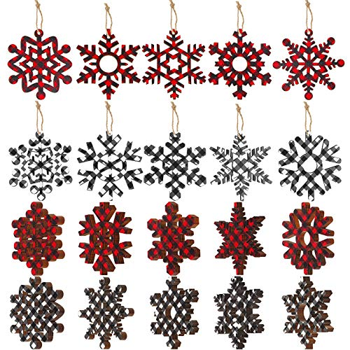 Buffalo Plaid Christmas Wooden Snowflake Ornament Snowflakes Wood Slice Craft Wood Set with Twine for DIY Craft Christmas Hanging Ornament Holiday Decoration (Red and Black, White and Black,20 Set)