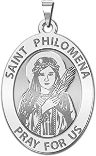 PicturesOnGold.com Saint Philomena Oval Religious Medal - Available in Solid 14K Yellow or White Gold, or Sterling Silver