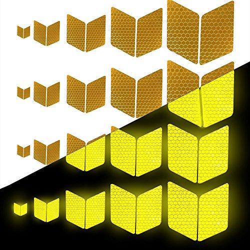 Tuqiang Diamant-Form Reflektierendes Klebeband Wasserdicht Selbstklebend Für Rollstuhl Gehstock Schuhe Hohe Sichtbarkeit Band Sicherheit im Freien Reflektierend Aufkleber 25 Stück Gelb