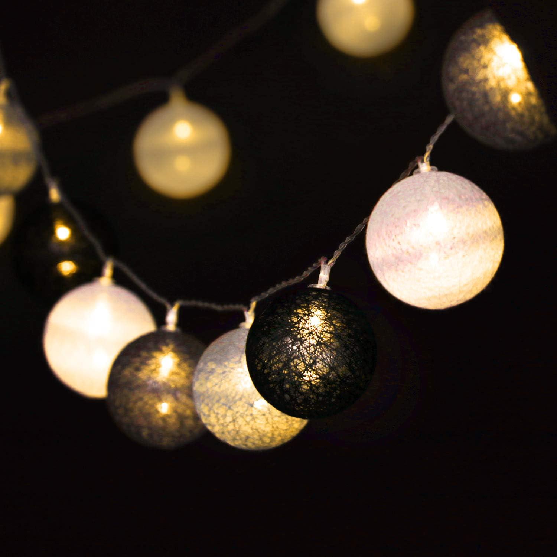 Boda o Fiesta cumplea/ños 160 cm Cadena de Luces a Pilas com-four/® 2X Cadena de Luces LED con Bolas decoraci/ón LED para Navidad