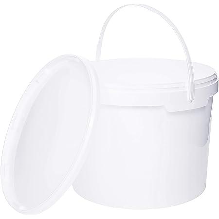 Seau avec couvercle | 10 x 10 Litres | Blanc Plastique Alimentaire Qualité de meilleure