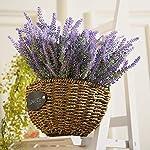 8 bundles artificial flowers fake lavender plant artificial lavender bouquet faux flocked plastic flowers wedding bridle bouquet indoor outdoor home kitchen office table décor (purple lavender/8pcs)