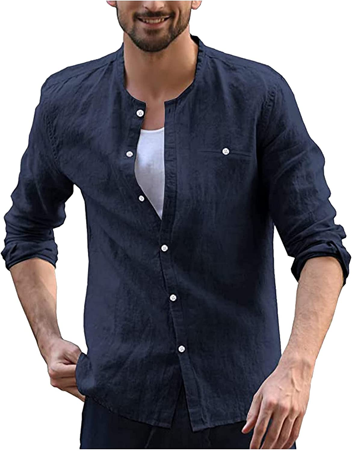 WOCACHI Button Down Long Sleeve Shirts For Mens, Fall Men's Slim Fit Tee Shirt Casual Basic Solid Beach Tops
